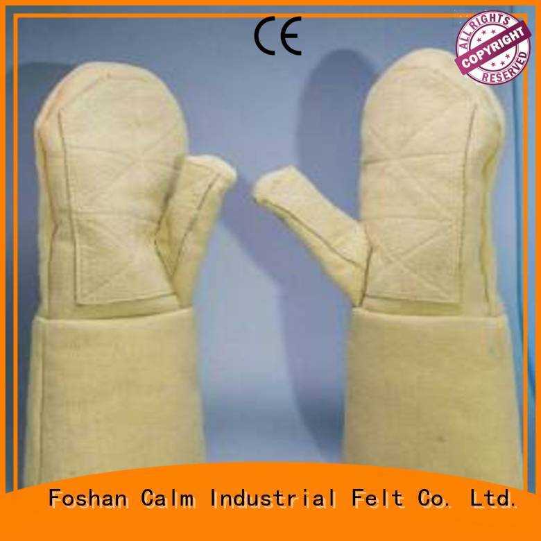 37cm Finger shape 3.5Grade 500℃ Calm Industrial Felt Kevlar gloves