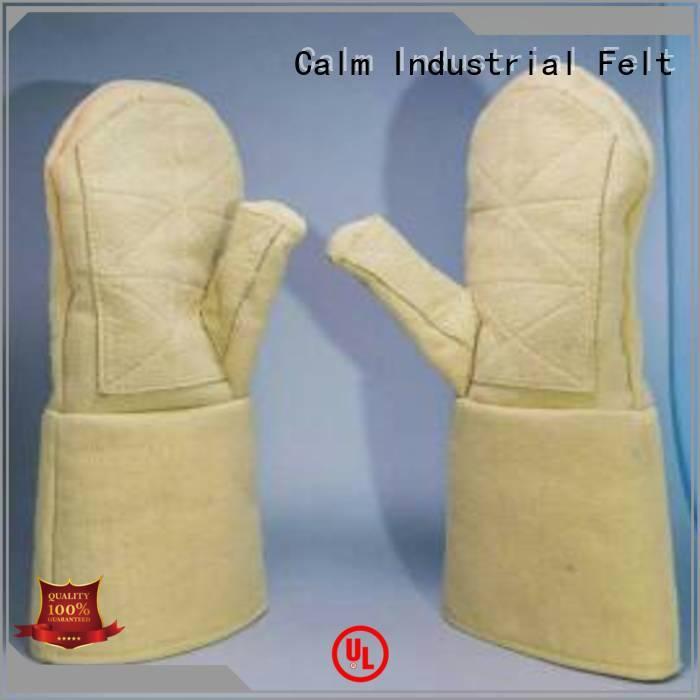 Kevlar gloves for metal casting Finger shape 37cm OEM Kevlar gloves Calm Industrial Felt
