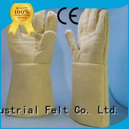 37cm Finger shape 500℃ 3.5Grade Calm Industrial Felt Kevlar gloves for metal casting