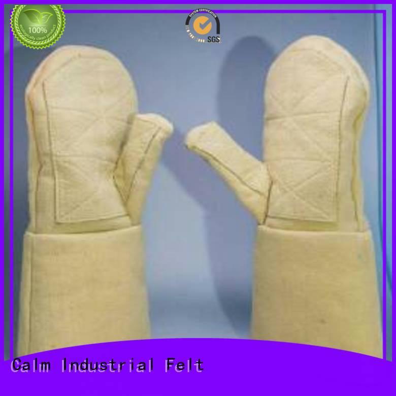 Finger shape 37cm 500℃ 3.5Grade Calm Industrial Felt Kevlar gloves for metal casting