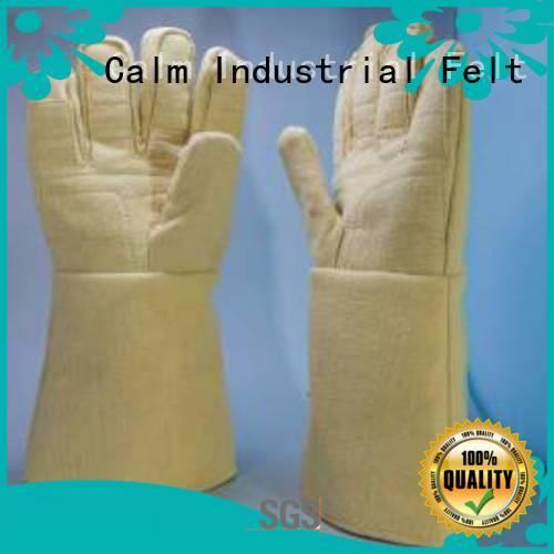 Custom Kevlar gloves Finger shape 500℃ 37cm Calm Industrial Felt