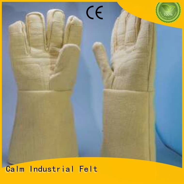 Finger shape 37cm Kevlar gloves for metal casting 3.5Grade 500℃ Calm Industrial Felt Brand